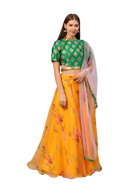 dd90dbadece Buy Inddus Green   Mustard Semi-Stitched Lehenga Choli Set for Women Online    Tata CLiQ