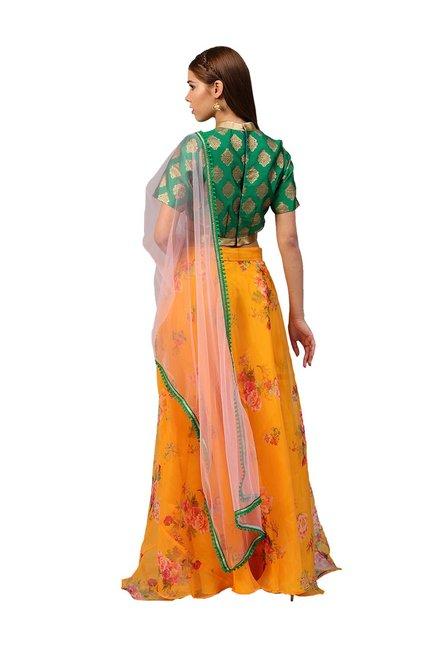 4904d7ee345 Buy Inddus Green   Mustard Semi-Stitched Lehenga Choli Set for Women ...