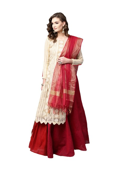 9734cb32fbe Buy Inddus Beige   Red Semi-Stitched Lehenga Choli Set for Women Online    Tata CLiQ