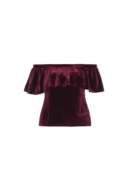 838e1862240b78 Buy Wardrobe by Westside Burgundy Velvet Off-Shoulder Maine Top for ...