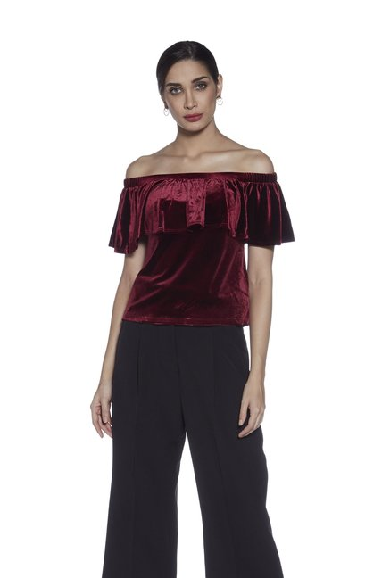 052a0f027581 Buy Wardrobe by Westside Burgundy Velvet Off-Shoulder Maine Top ...