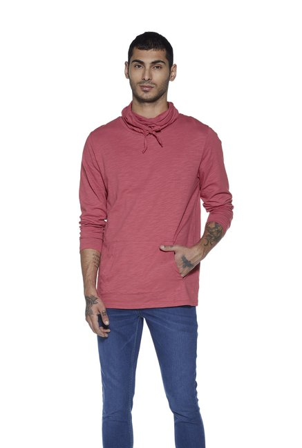 9e779a6e Buy Nuon by Westside Coral Snood-neck Slim Fit T-Shirt for Men Online @ Tata  CLiQ