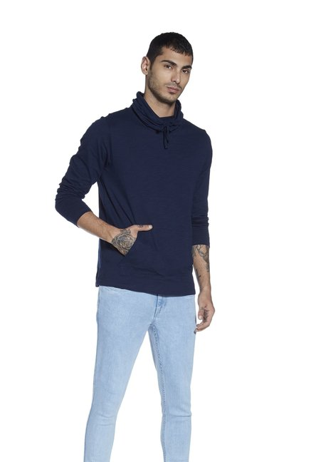 Nuon by Westside Navy Snood-neck Slim Fit T-Shirt