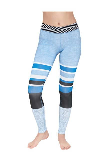 c558f9c2fbc57 Buy Satva Blue Mid Rise Striped Tights for Women Online @ Tata CLiQ