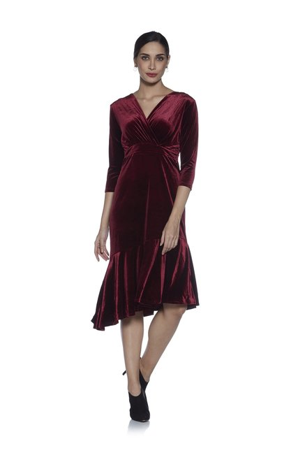8de7bd0637ef1 Buy Wardrobe by Westside Burgundy Velvet Cartin Dress for Women Online @  Tata CLiQ