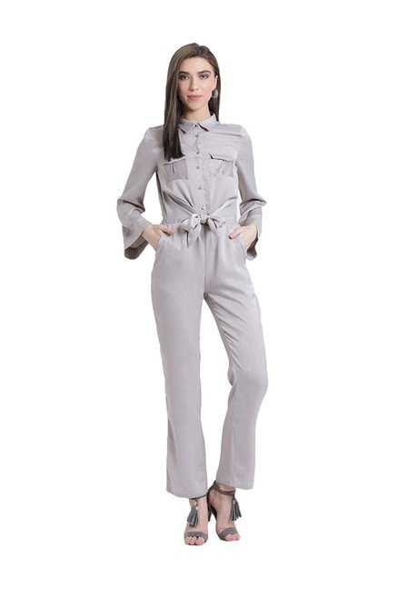 7d512f7d50e Buy Kazo Grey Full Sleeves Jumpsuit for Women Online   Tata CLiQ