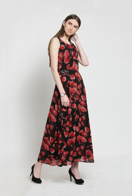 645fa8970 Buy Latin Quarters Black & Red Floral Print Midi Dress for Women ...
