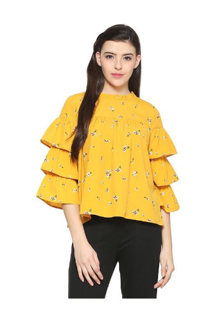 87e58913e9f1b Buy People Mustard Floral Print Top for Women Online   Tata CLiQ