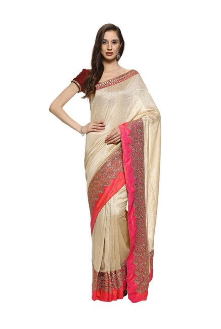 f58fab53623b06 Buy Soch Beige Embroidered Saree With Blouse for Women Online ...
