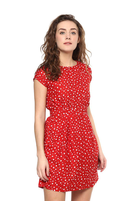 Mayra Red Printed A Line Dress