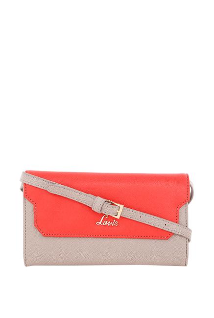 Lavie Dabke Red   Grey Color Block Flap Sling Bag