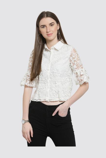 46cc42c8d0e Buy Latin Quarters White Lace Top for Women Online   Tata CLiQ