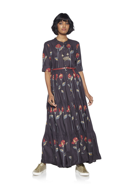 5fcf3a1fc Buy Bombay Paisley by Westside Grey Tiered Maxi Dress With Belt for Women  Online   Tata CLiQ