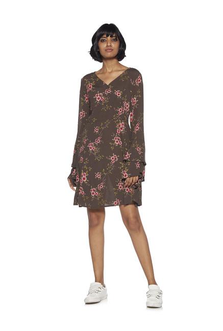 1886e4c77021 Buy Nuon by Westside Khaki Floral Print Dylan Dress for Women Online   Tata  CLiQ