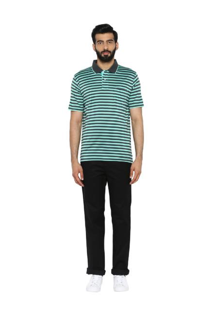 bfc351da Buy ColorPlus Blue & Black Regular Fit Striped Cotton Polo T-Shirt ...