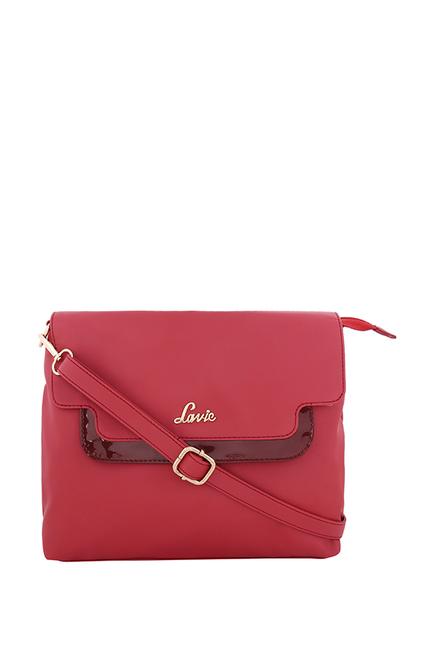 Lavie Tufo Red Solid Flap Sling Bag