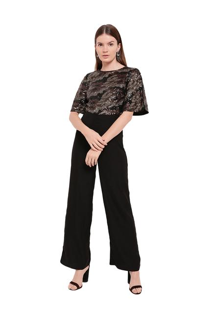 b7d6a2bc08e Buy Kazo Black Embellished Jumpsuit for Women Online   Tata CLiQ