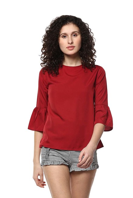 Mayra Maroon Bell Sleeves Top