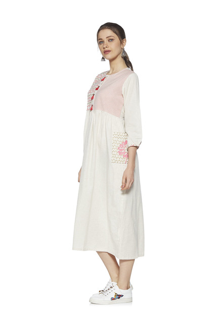 438f0b58f3d Buy Zudio Off White Linen Blend Printed Meera Dress for Women Online   Tata  CLiQ