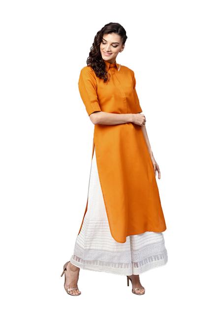 e8bc56285 Buy Gerua Mustard Cotton Straight Kurti for Women Online   Tata CLiQ