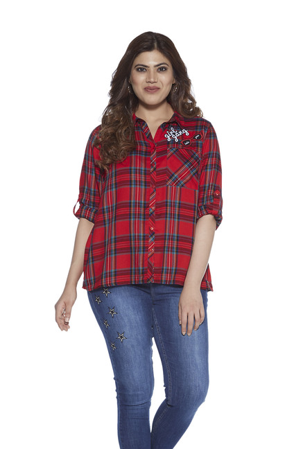 6a49153fcf1 Buy Sassy Soda curve by Westside Red Checked Shirt for Women ...