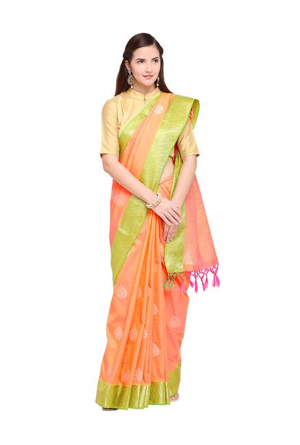 8a95fdcc093486 Buy Varkala Silk Sarees Orange Woven Banarasi Saree With Blouse ...