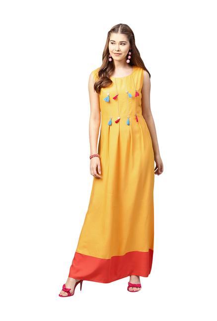 62077dfbd8c3 Buy Juniper Yellow Embroidered Maxi Dress for Women Online @ Tata CLiQ