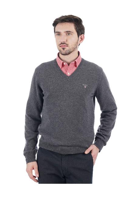 Buy GANT Dark Grey V Neck Pullover for Men Online @ Tata CLiQ