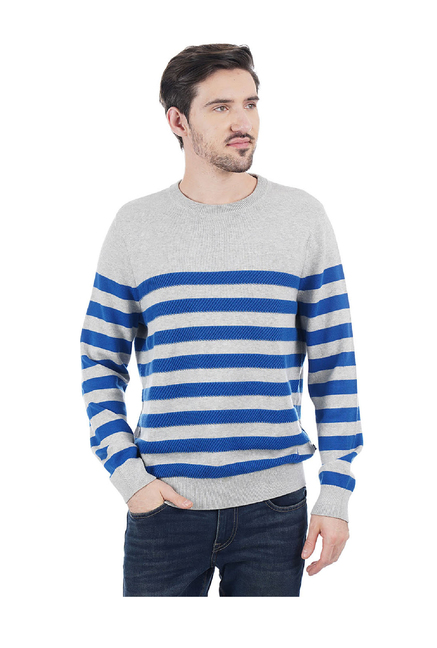 2891a8a0a6 Buy Nautica Grey & Blue Round Neck Striped Cotton Pullover for Men Online @  Tata CLiQ