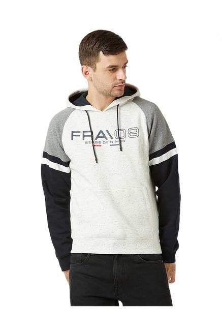 4c49eff6b2e Buy Octave White Melange Printed Hoodie for Men Online   Tata CLiQ
