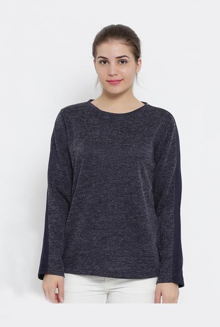 Buy Cloak & Decker by Monte Carlo Navy Striped Top for Women Online