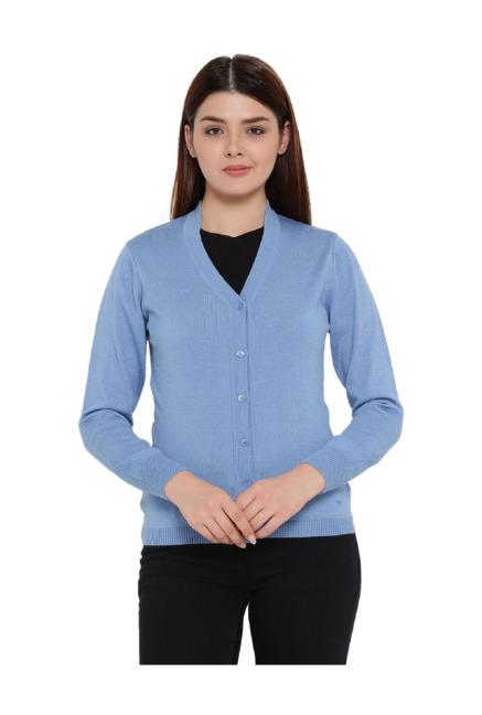 4848a983b1 Buy Monte Carlo Sky Blue V Neck Cardigan for Women Online   Tata CLiQ