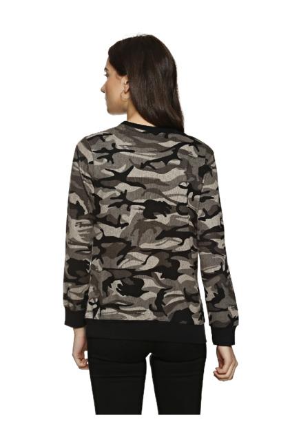 b096d229bfd1b Buy Campus Sutra Beige & Black Camo Print Sweatshirt for Women ...