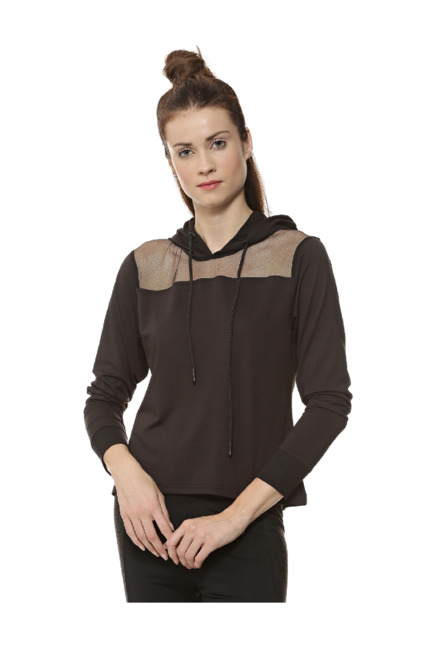 Campus Sutra Black Full Sleeves Sports Jacket