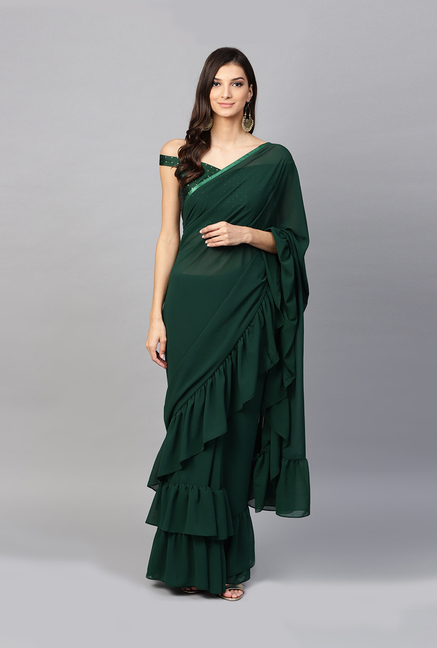 1721b9a07a Buy Inddus Bottle Green Saree With Blouse for Women Online @ Tata CLiQ
