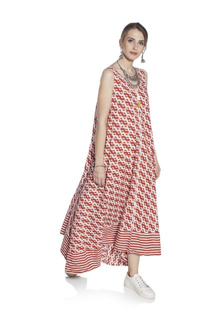 dc15ce9fcac8 Buy Zudio Red Geometrical Print A-line Dress for Women Online @ Tata CLiQ