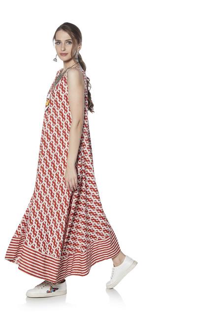 8ad73f5e04f8 Buy Zudio Red Geometrical Print A-line Dress for Women Online @ Tata ...