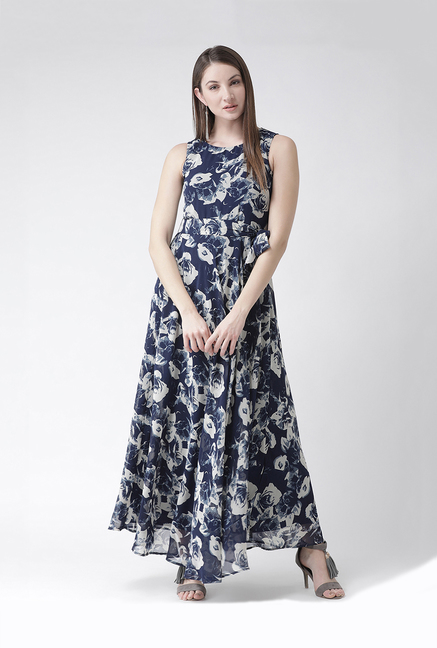 646a0f6414b Buy The Vanca Navy Printed Maxi Dress for Women Online   Tata CLiQ