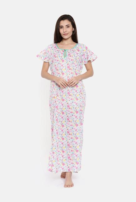 Buy The Kaftan Company White Printed Nighty for Women Online   Tata CLiQ 0851d15d5