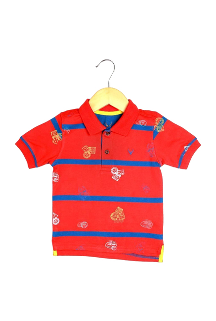 0d38312e4bc7 Buy Allen Solly Junior Red Striped Polo T-Shirt for Boys Clothing Online @  Tata CLiQ