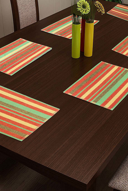 NEUDIS Red   Green Woven Cotton Placemats   Set Of 6