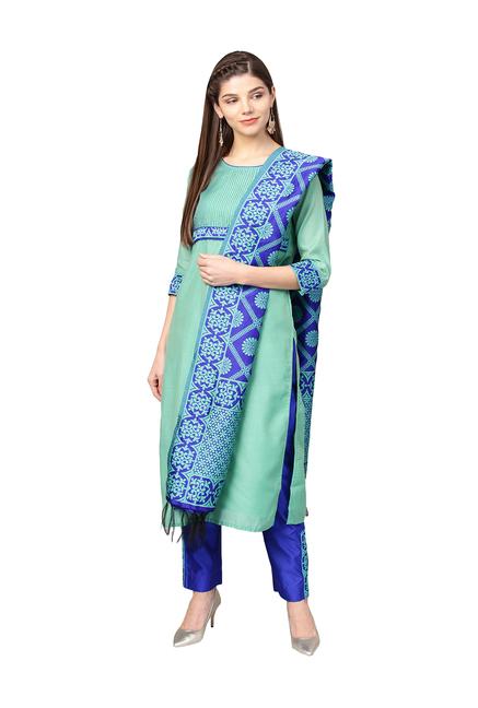 db11d44b66 Buy Jaipur Kurti Green & Blue Printed Salwar Suit for Women Online @ Tata  CLiQ