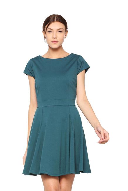 9bfe5d3adfa52 Buy Allen Solly Teal Green Skater Dress for Women Online @ Tata CLiQ
