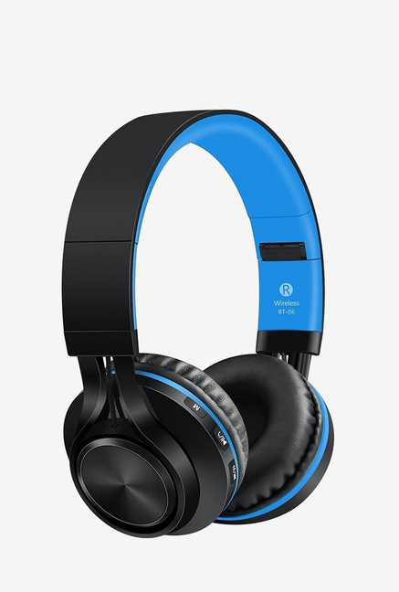 Sound One BT 06 On The Ear Bluetooth Headphones with Mic  BlackBlue