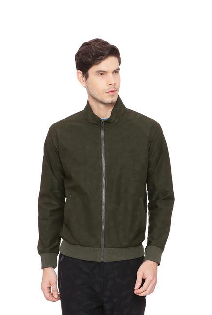 Basics Green Self Design Mock Collar Jacket