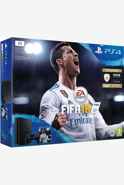 Sony PlayStation4 1TB Slim Console with FIFA 18 (Jet Black)