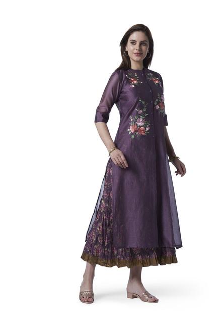 8530f2410 Buy Vark by Westside Purple A-Line Kurta With Maxi Dress Set for Women  Online @ Tata CLiQ
