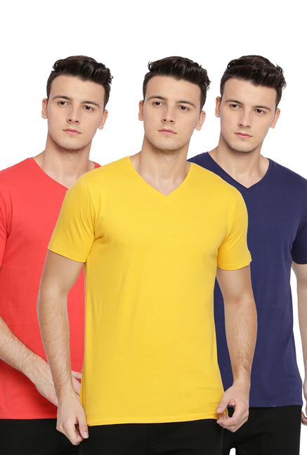 Basics Yellow & Navy & Red V Neck T-Shirt - Pack of 3