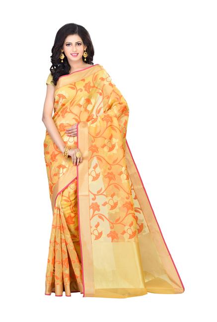 5dc7c0f1c66adc Buy Bunkar Beige Woven Pattern Banarasi Saree With Blouse for Women Online    Tata CLiQ