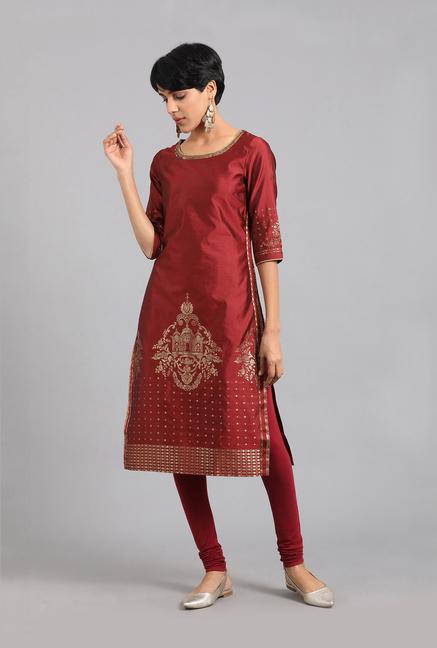 1e91dd14a4 Buy W Maroon Printed Kurta for Women Online @ Tata CLiQ
